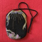 Vintage Beaded Purse Black w/Bow Design 12x7