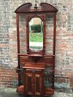 Antique English Mahogany Chippendale Hall Tree Beveled Mirror Early 19th Century
