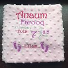 PERSONALISED Baby Pram Cot Blanket Boys Girls Blue Pink FULL BIRTH DETAILS