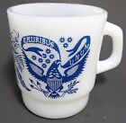 FIRE KING Coffee Cup Mug E.PLURIBUS UNUM Blue Eagle Flowers [Z183a]