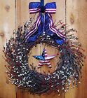 Patriotic Spring Summer July 4 Wreath AMERICANA RED/WHITE/BLUE DOOR WREATH DECOR