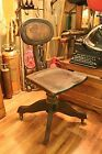 Antique Desk Secretary Chair with Caned Backrest
