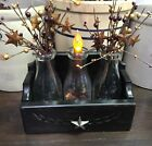 Primitive Wood Box With Star And 3 Glass Milk Bottles With Berries And A Candle