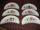 Antique Set of 6 Brown Transferware Bone Dishes White and Brown