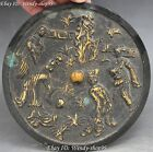 15cm Old Chinese Dynasty Bronze Gild Carving Human Man Woman Statue Round Mirror
