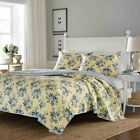 Full Queen Coverlet Size Bedding Set Quilt Flowers Bedspread Yellow Blue 3-Piece