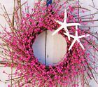 Spring Summer Wreath Beach Cottage HOT PINK STARFISH TWIG DOOR WALL WREATH DECOR