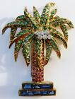 Vintage Brooch Palm yellow gold diamonds emerals rubies sapphires Made in Italy