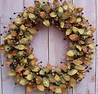 Spring Summer Wreath Primitive Country BROWNSTONE LEAF BERRY DOOR WREATH DECOR