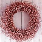 LARGE Spring Easter Summer Wreath Primitive Country PINK BERRY DOOR WREATH DECOR