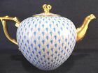 HEREND BLUE FISHNET TEAPOT,RICHLY  GILDED,FOR SIX TEA CUPS,30 fl OZ HOLD