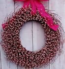 LARGE Spring Easter Summer Wreath HOT PINK BURLAP PINK BERRY DOOR WREATH DECOR
