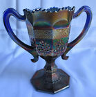 FENTON ORANGE TREE LOVING CUP IN COBALT BLUE CARNIVAL GLASS WITH TWO HANDLES 6