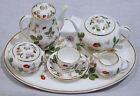 WEDGWOOD WILD STRAWBERRY MINI / MINIATURE 10 PIECE TEA COFFEE SET