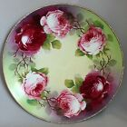 EG HAND PAINTED SIGNED PLATE Pink Roses 9 3/4