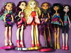 Lot Ever After High and Monster High dolls with clothes, shoes, stands
