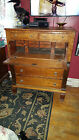 Antique American Butlers Desk Secretary Chest of Drawers Tiger Maple Circa 1840s