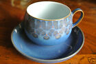 DENBY Langley MIDNIGHT England Cup & Saucer Set Flowers Red Dots Blue Ground