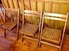 Vintage Wooden Slat Wood Funeral Home Folding Chairs