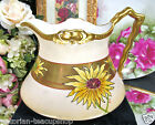 LIMOGES FRANCE HANDPAINTED ARTIST SIGNED PITCHER TONS OF GOLD FLORAL