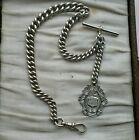 Antique sterling silver thick pocket watch albert chain and fob medal 36cms 58g