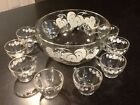 VTG 12pc. ANCHOR HOCKING GLASS Punch Bowl Set White Grape Leaf Design, Gold Trim