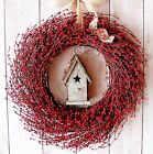LARGE Spring Summer Wreath Country RED BERRY BIRDHOUSE DOOR WALL WREATH DECOR