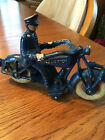 cast iron toy champion motorcycle with policeman