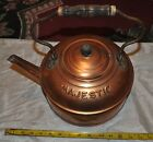 Vintage Solid Copper TEA POT / KETTLE MAJESTIC SHINEY Wood Handle TIN Home Decor