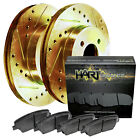 Rear Gold Hart Drilled Slotted Brake Rotors Disc and Ceramic Pads CorollaPrizm