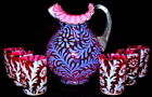 Vintage Fenton for LG Wright Cranberry Opalescent Daisy  Fern 7 pc Water Set