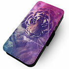 Colourful Tiger -Faux Leather Flip Phone Cover Case- Cosmic Tumblr Space Stars