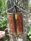 Gothic Wrought Iron Amber Red Black Stained Glass Spanish Ceiling Light Fixture