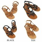 New Womens Sandals Strappy Faux Leather Gladiator Thong T Strap Flat Sandals
