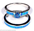 Blue Topaz  Blue Fire Opal 925 Sterling Silver Solitaire  Band Stack Ring Set