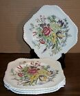 4 JOHNSON BROS WINDSOR WARE GARDEN BOUQUET SQUARE SALAD PLATES 7.5