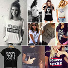 Summer New Women Casual Short Sleeve Loose T shirt Letter Print Graphic Tee Tops