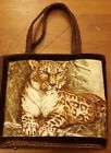 Vintage, Trapunto Creations, Dark Brown, Fabric, Leopard Design, Tote Handbag
