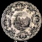 Pomerania Plate Black Transferware John Ridgway 1830 Cows Boating Castle Ferry