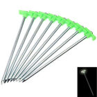 New 10PCS Outdoor Camping Trip Stainless Steel Tent Pegs Stake Luminous Nail 10