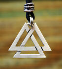Valknut Necklace on Cord  Viking Jewelry  Norse Pendant  Nordic Accessories
