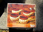 Nice 4 Country Wheat Design Soup or Chili Bowls Brown Glaze w Handles with Box