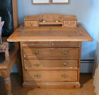 Antique Repro Wood Pine Writing Desk End Table Chest of Drawer Leather Top Phila