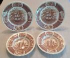 Alfred Meakin Fair Winds Friendship Salem Ships Brown Transferware Plates Bowls