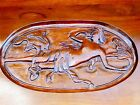 Antique Carved Mermaid Merman Walnut Wood Side Table w/ Removable Glass Tray Top
