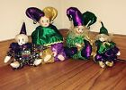 Set Of 4 Cute Mardi Gras Jester Dolls Combination Fabric And Porcelain