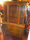 VTG china cupboard cabinet hutch buffet glass and wood door Basset maple wood