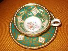 Grosvenor TEAL Green Heavy Gold ORNATE WIDE Cup Saucer Floral EXCELLENT