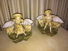 Antique Pair Exquisite German Dresden Bisque Victorian Girl Boy Figurine Vases