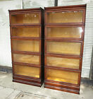 PAIR of Macey Oak 5-Sectional Tiered Stacking Bookcase Barrister - Pick Up Only